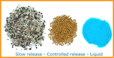 Slow release, controlled release and liquid fertilizers